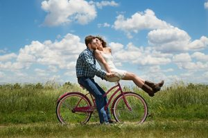 couple, romance, bike