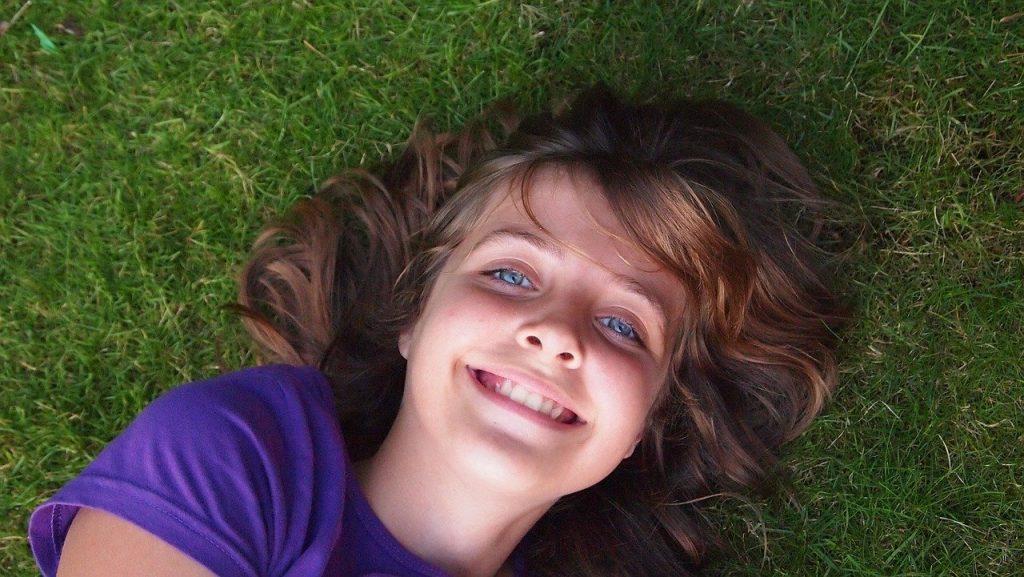 girl, happy, blue eyes